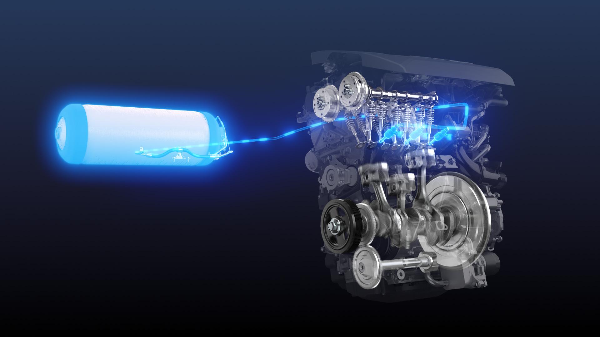 The three-cylinder engine burns hydrogen, not gasoline.