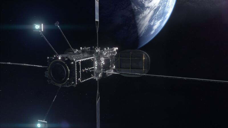 Artist's rendering of the Mission Extension Vehicle-2 (foreground) docked to a client satellite.