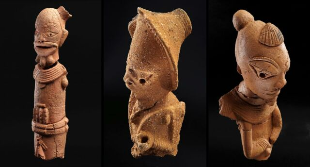 A few of the Nok culture's trademark terracotta figurines. Most figurines depict people or animals, and the human ones are known for their elaborate hairstyles.