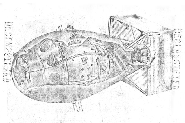 """Part of a fuzing manual for the Mark III atomic bomb, the postwar version of the Fat Man bomb dropped on Nagasaki. Alex Wellerstein: """"This image gives away nothing at all that is secret today (and indeed, little that would have been secret after about 1960, when the casing of the bomb was declassified), but it still gives one a <em>frisson</em> to have a see-through image of an atomic bomb."""""""