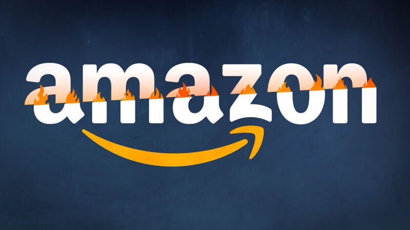 An Amazon logo falls apart and catches fire.