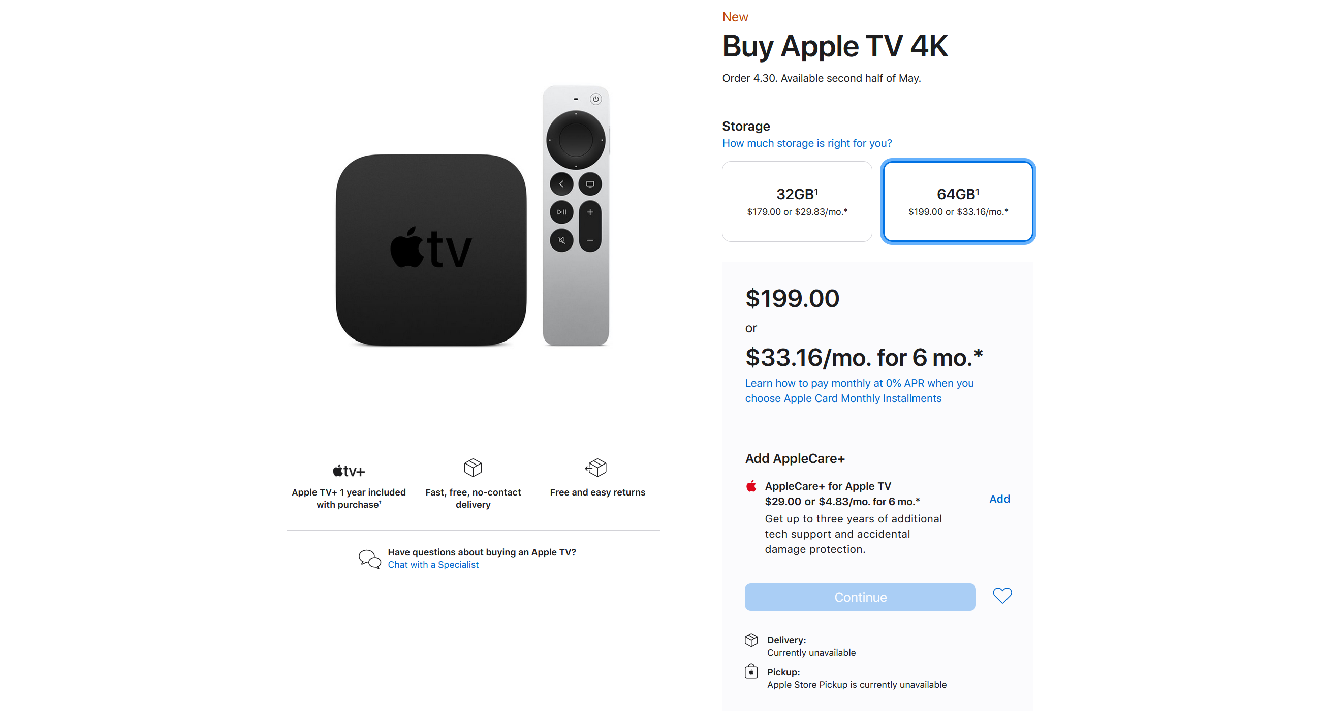 AppleCare appears as an option for Apple TV 4K purchases.