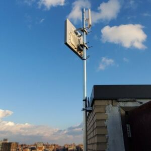 Rooftop antenna at Sacred Heart School in the Bronx.