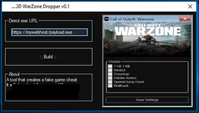 An app available in malware forums that creates custom versions of <em>Warzone Cheat Engine</em>.