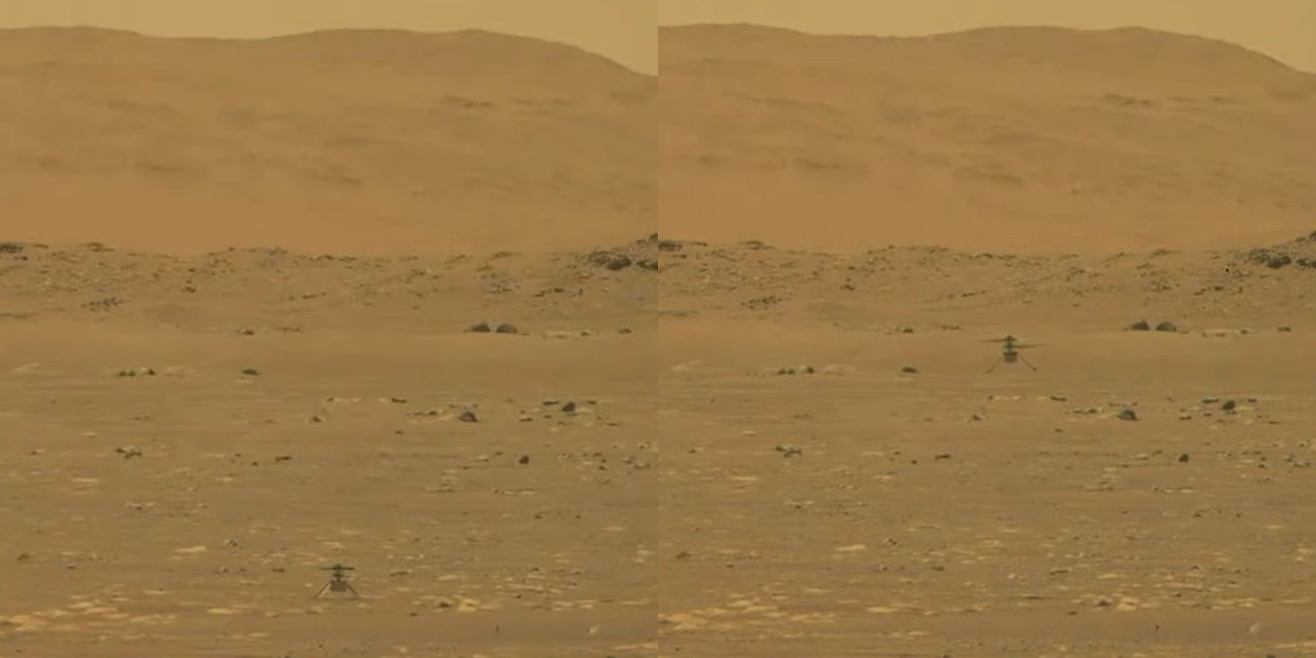 This side-by-side image shows <em>Ingenuity</em>, as seen from the Mars Perseverance rover, on the ground and then up in the air.