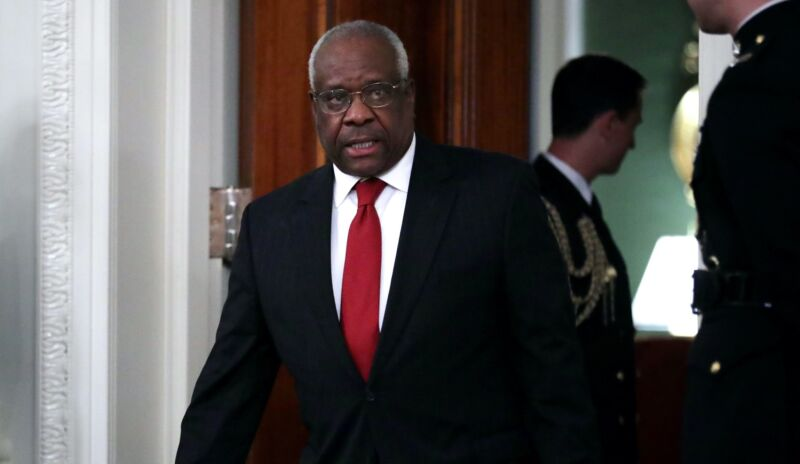 Supreme Court Justice Clarence Thomas arrives for the swearing-in of Justice Brett Kavanaugh in the East Room of the White House on October 8, 2018, in Washington, DC.