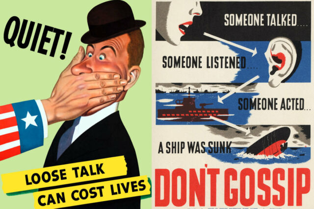 Vintage World War II posters urging the importance of secrecy.