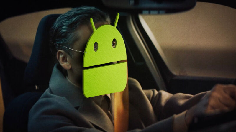 Please don't actually drive while wearing a giant Android mask.