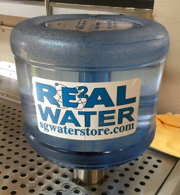 Real Water sold in jugs.