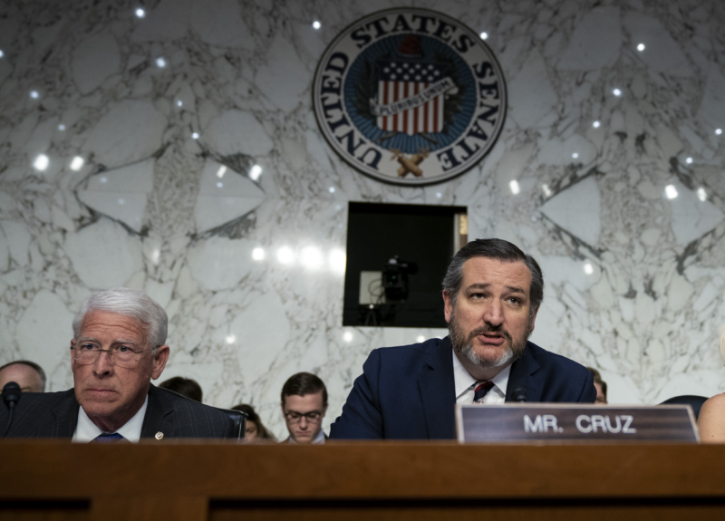 Technology Sen. Roger Wicker (R-MS) and Sen. Ted Cruz (R-TX) are shown at a 2019 hearing. Both senators harshly criticized big technology companies at the 2021 confirmation hearing for Lina Khan to serve on the Federal Trade Commission.