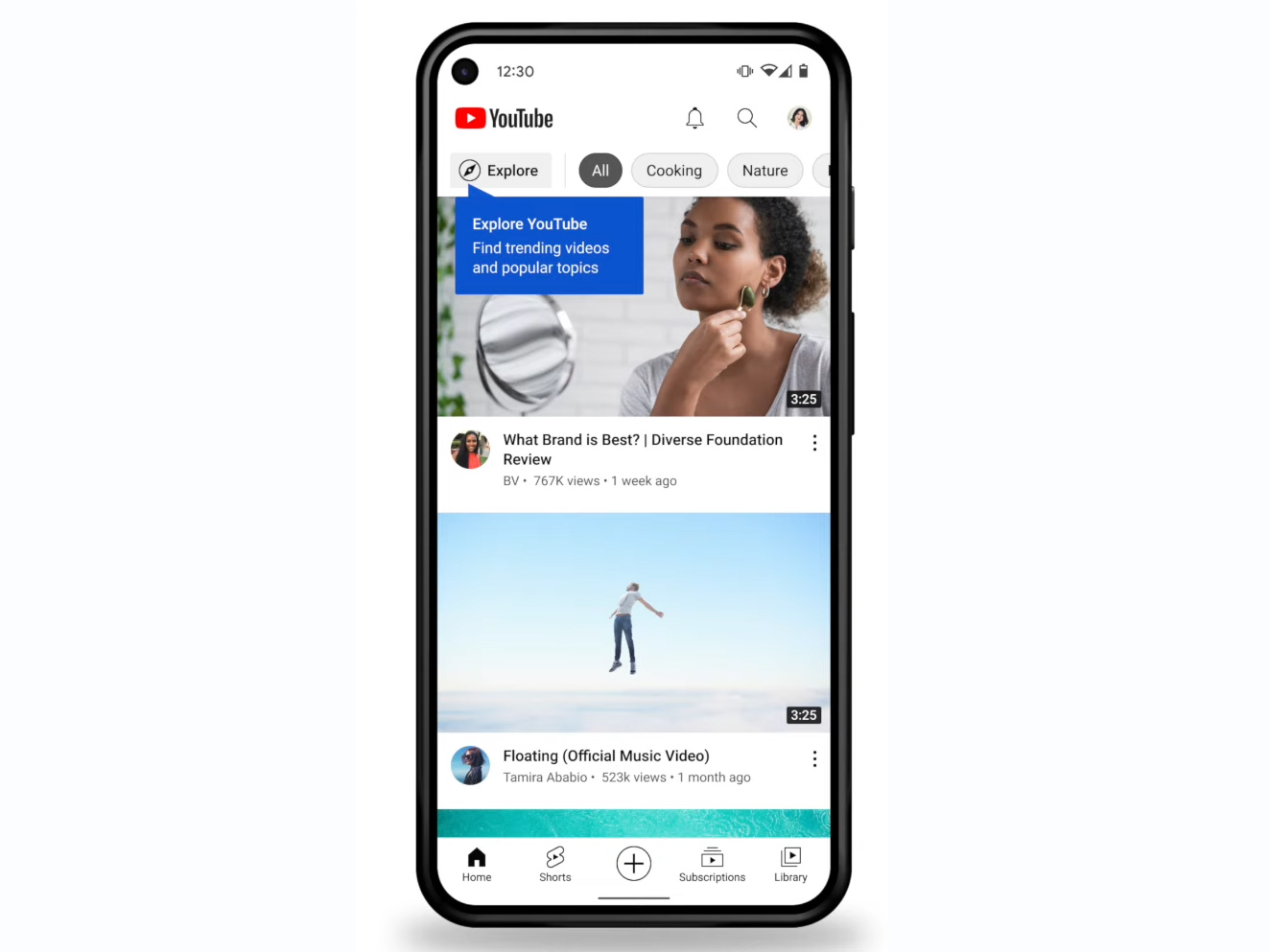 """The new YouTube app layout. """"Shorts"""" gets a tab at the bottom, while """"Explore"""" is demoted to the top of the home page."""