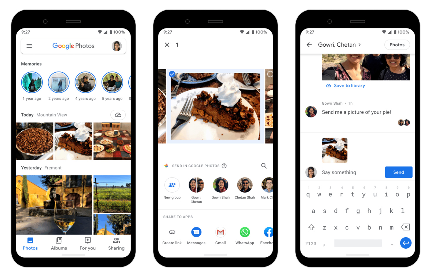 Google Photos Messaging. You can send pictures.