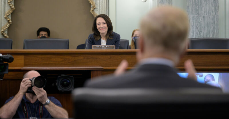 Committee Chair Sen. Maria Cantwell, D-Wash., listens to former US Sen. Bill Nelson, President Biden's nominee to be the next administrator of NASA, on April 21, 2021.