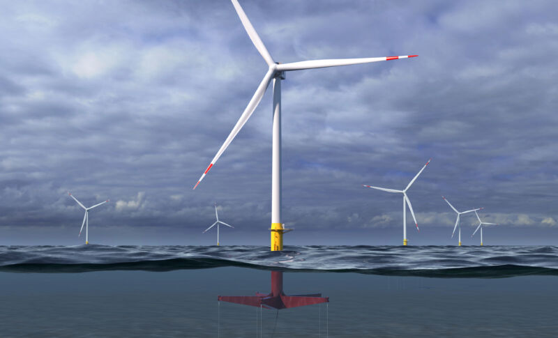A rendering of GE and Glosten's actively managed tension leg platform for floating offshore wind projects.