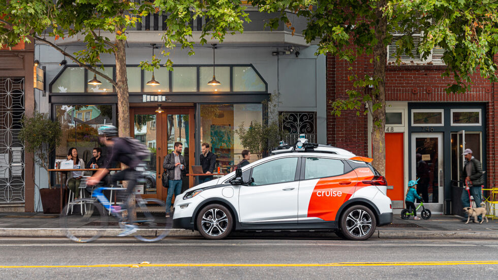 One of Cruise's sensor-covered Chevrolet Bolt EVs parked in San Francisco.