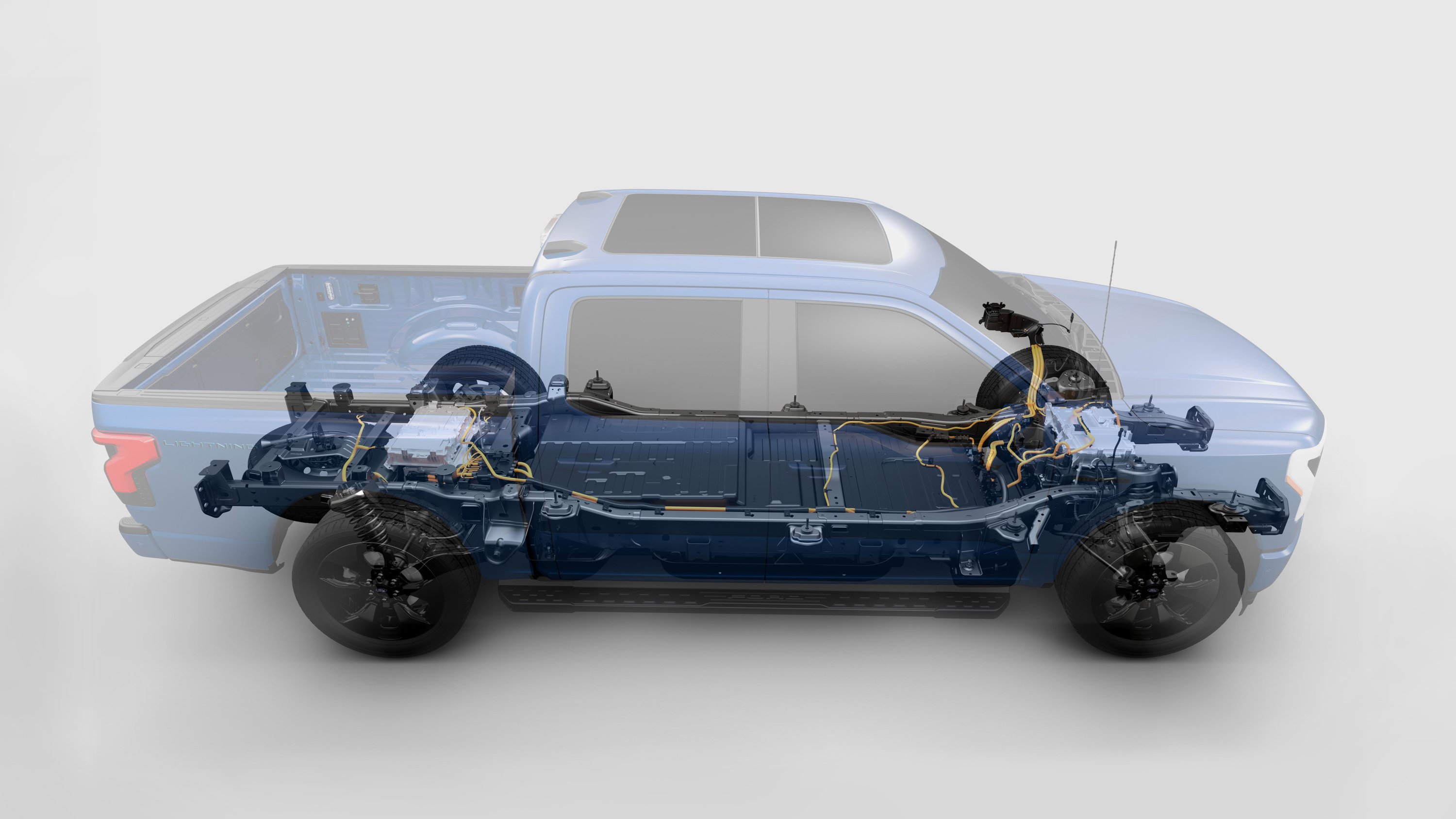 An illustration of the Ford F-150 Lightning powertrain.