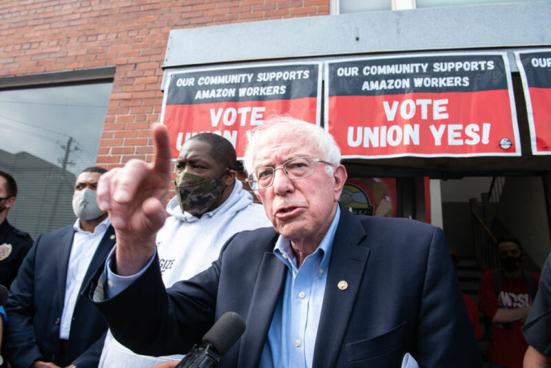 Sen. Bernie Sanders  (I-VA) speaks outside the Retail, Wholesale and Department Store Union headquarters in Birmingham, Alabama, on Friday, March 26, 2021.