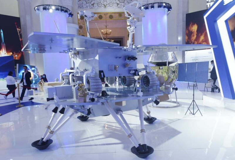 Photo taken on Dec. 4, 2020, shows the model of China's first Mars probe Tianwen-1 lander and Zhurong rover at the Zhejiang International Intelligent Transportation Industry Expo 2020.