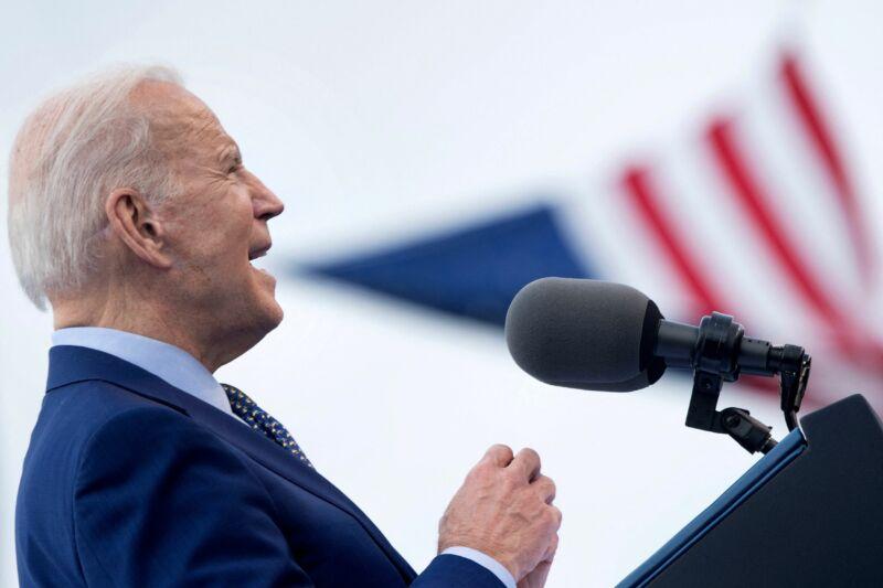Joe Biden speaks at a rally in Georgia on April 29, 2021.