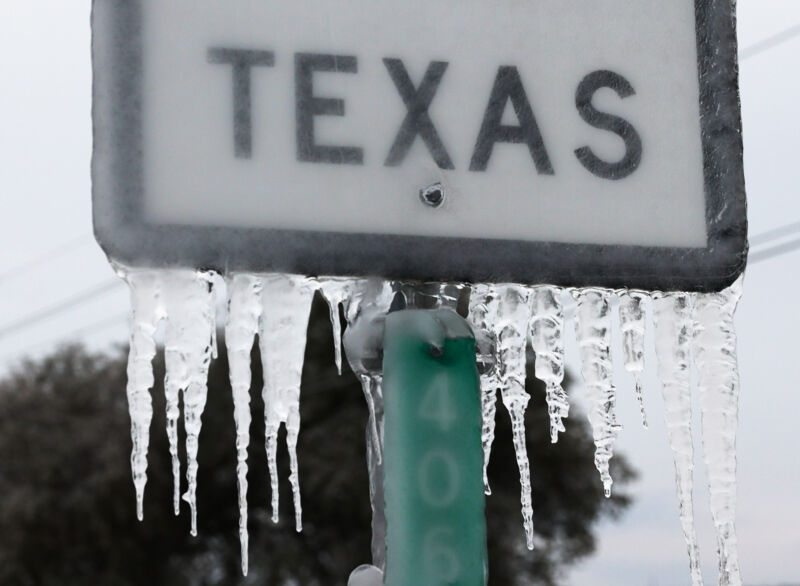 Icicles hang off the State Highway 195 sign on February 18, 2021, in Killeen, Texas. A winter storm brought historic cold weather and power outages to Texas as storms swept across 26 states with a mix of freezing temperatures and precipitation.