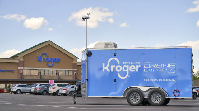 The Kroger delivery drone will be operated from this trailer.
