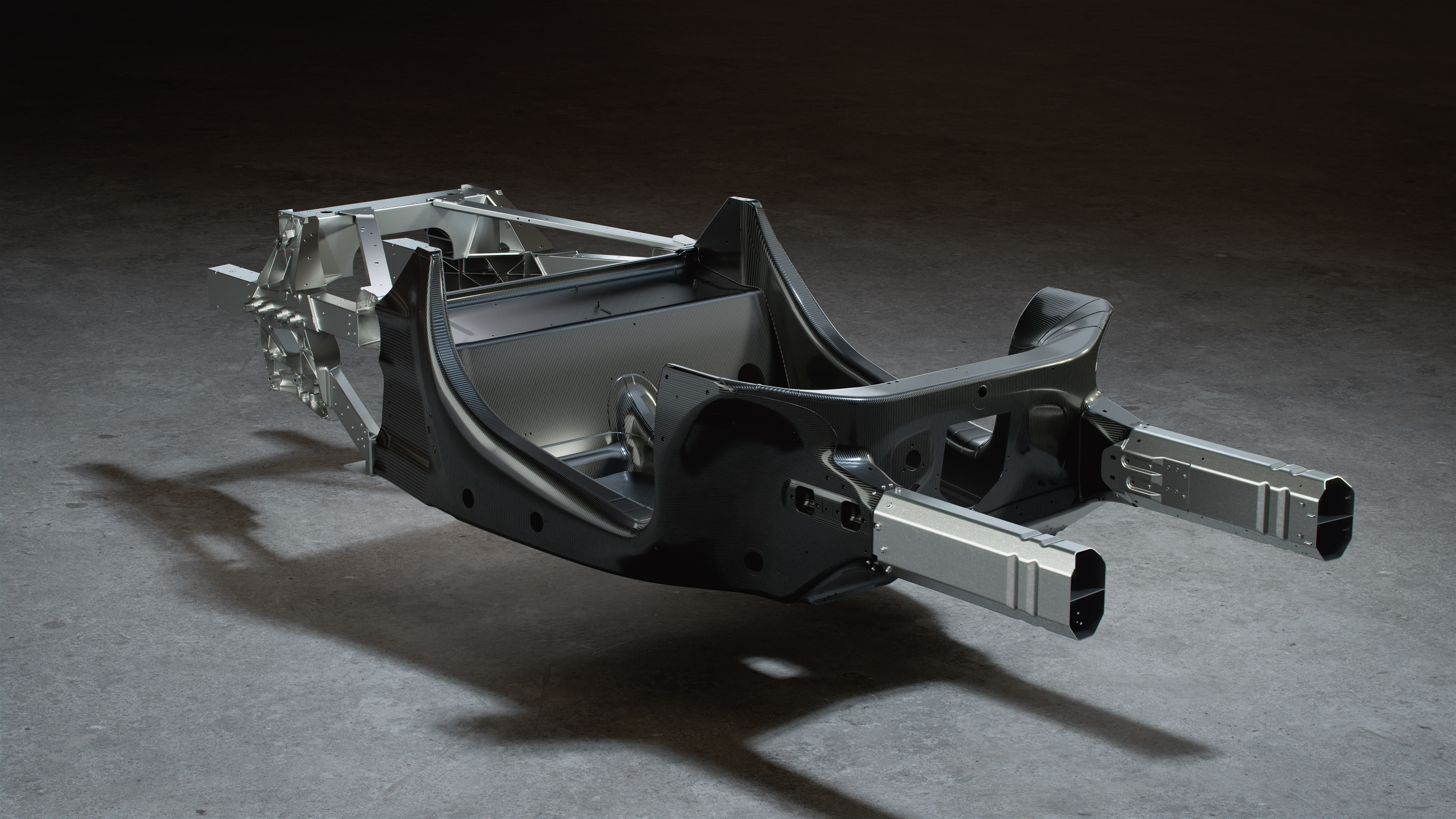 This is the MCLA monocoque tub and the front and rear aluminum subframes.