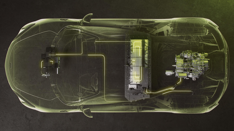 This schematic shows the McLaren Artura powertrain layout.