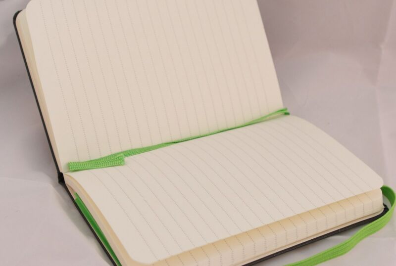 An open notebook with nothing written in it.