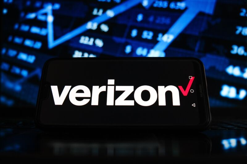 Illustration with a Verizon logo on a smartphone screen and a stock market graphic in the background.