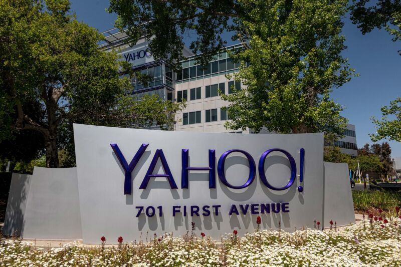 A Yahoo sign in front of the Verizon division's headquarters.