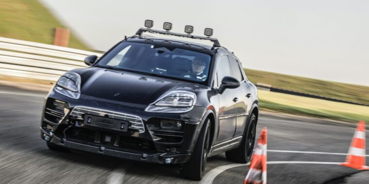 Here's our first look at 2023's electric Porsche Macan SUV thumbnail