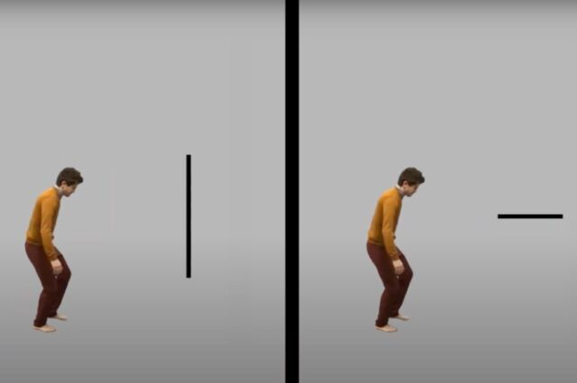 In the first experiment, subjects watched a video in which an actor collided with an invisible wall or stepped onto an invisible box. Then a line appeared, and subjects were asked to report the line's orientation.