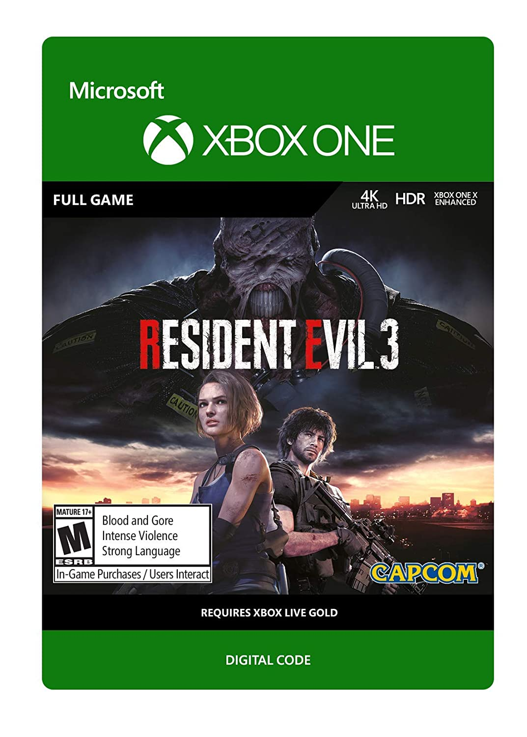 This digital game code for <em>Resident Evil 3</em> on the Xbox One costs $60 whether you buy it from Microsoft or a retailer.