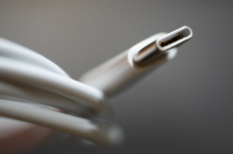 Extreme close-up photograph of USB cable.