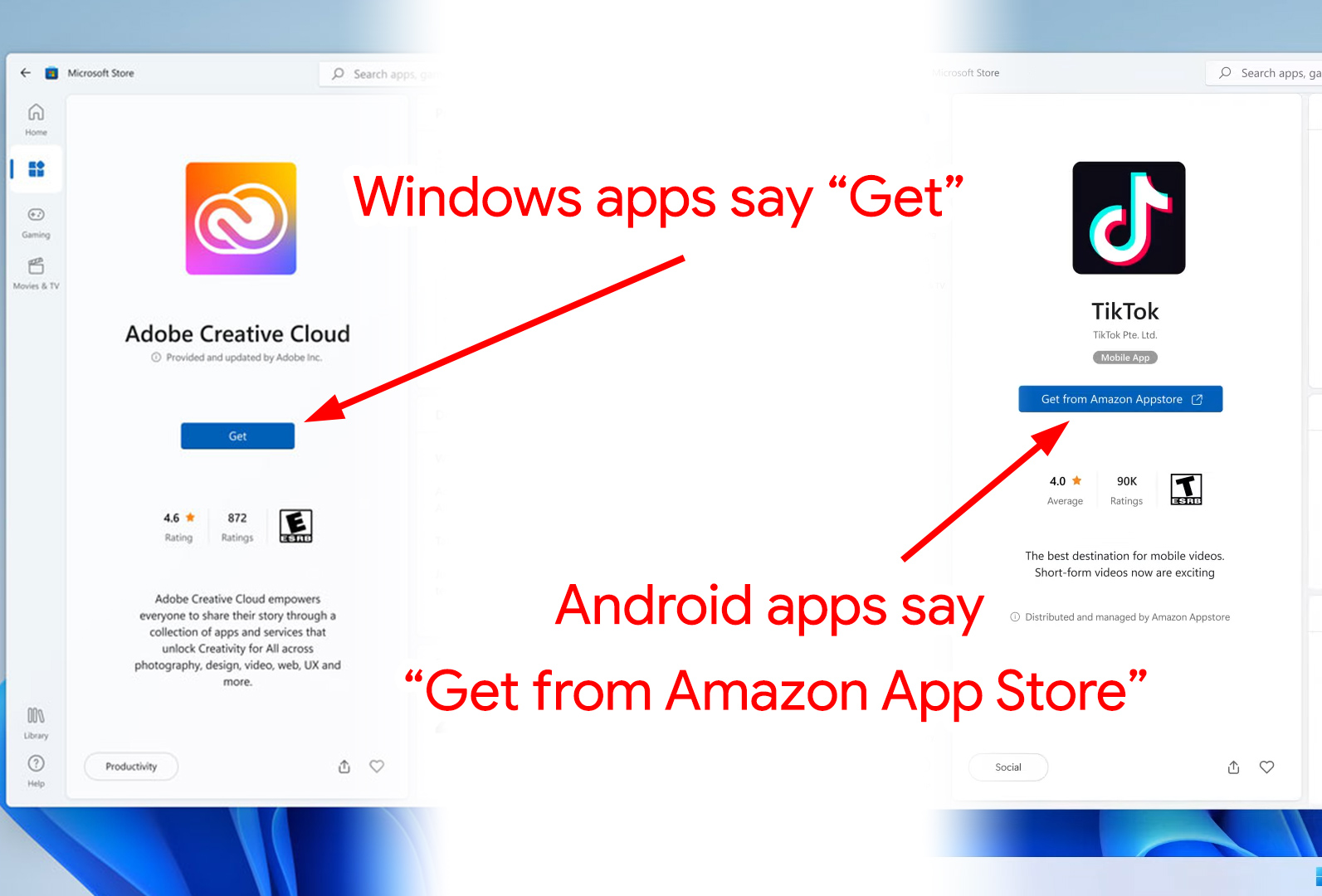 It looks like the Microsoft Store will list Android apps—but will kick you out to the Amazon App Store to install them.
