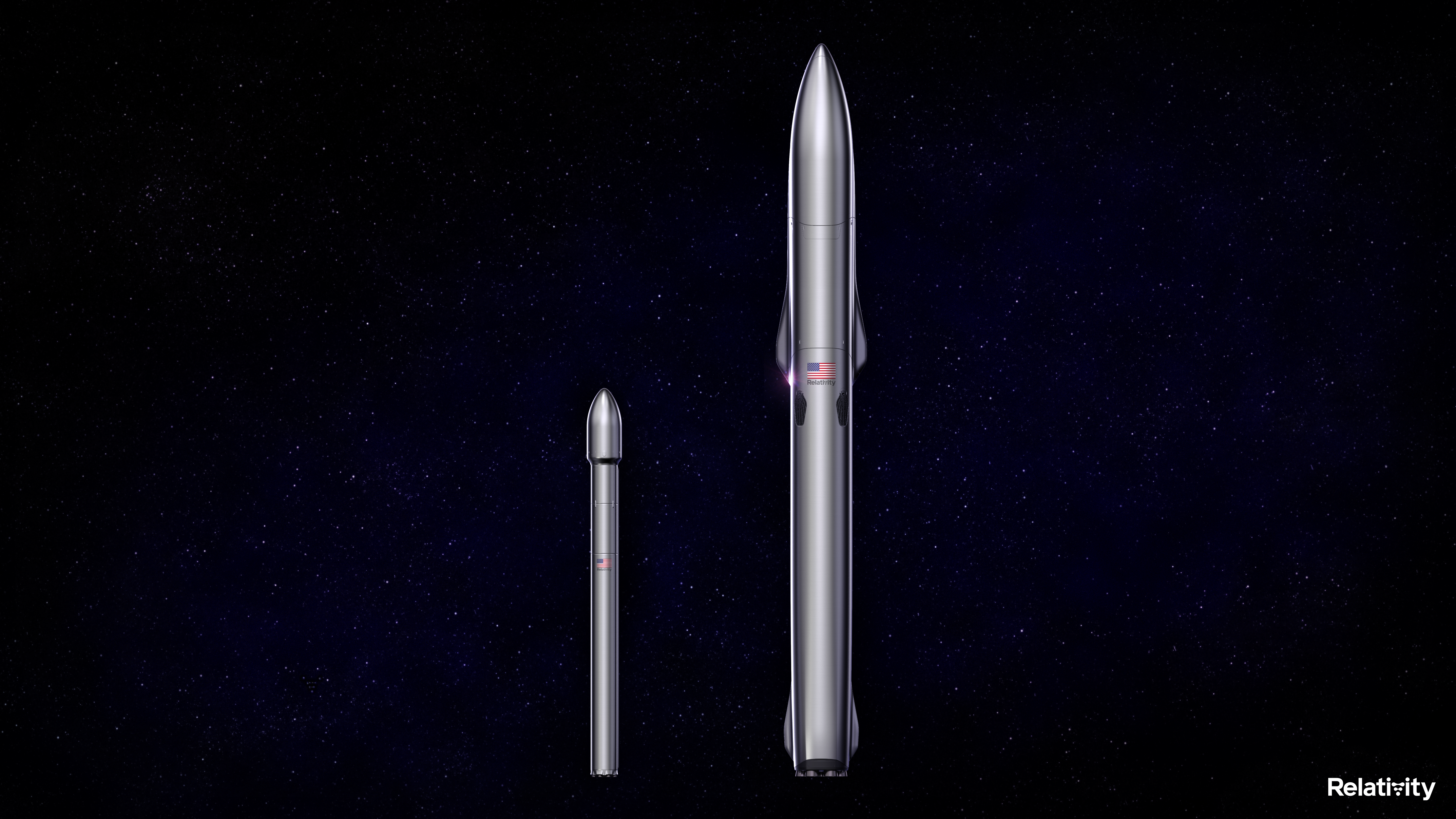 A rendering showing Relativity Space's Terran 1 rocket, left, alongside its Terran R vehicle.
