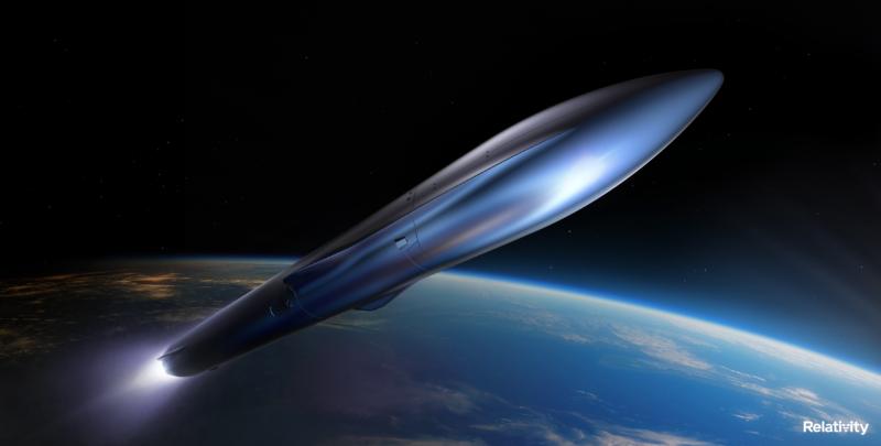 A rendering of the Terran R rocket in flight.