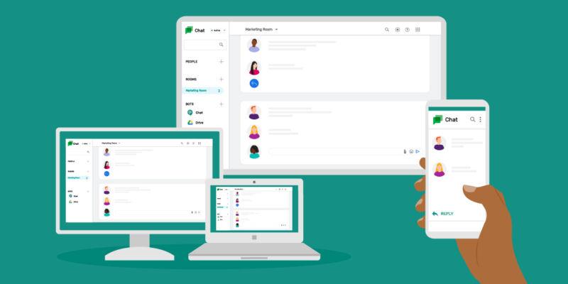 Cartoonish promotional image of laptop, desktop, and smartphone.