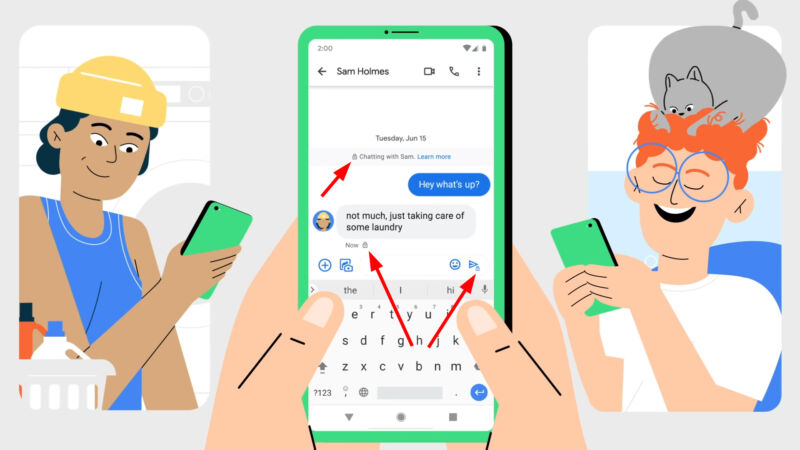 If you and your chatting partner are both on Google Messages and both have RCS enabled, you'll see these lock icons to show that encryption is on.