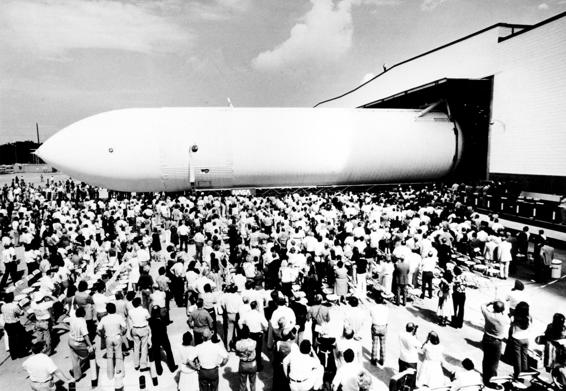 The space shuttle external tank for the Main Propulsion Test Article rolls off the assembly line September 9, 1977 at the Michoud Assembly Facility in New Orleans.