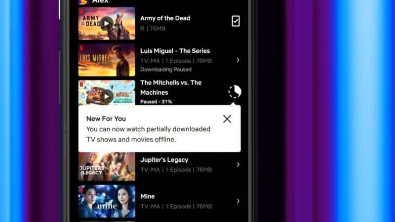 A screenshot of the Netflix downloads page on a smartphone.