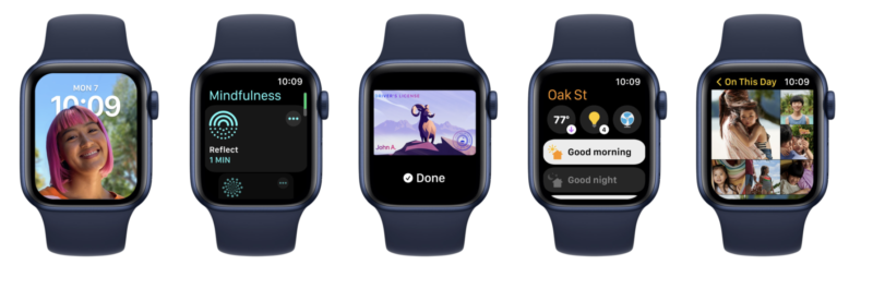 watchOS 8 introduces a new Portraits watch face, the Mindfulness app, support for ID and key cards in Wallet, a new HomeKit dashboard, and an improved Photos app, all shown on different apple watches