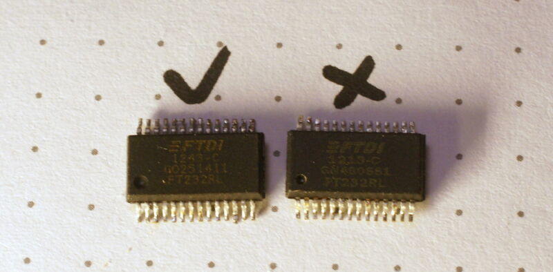 This pair of FT232RL USB to serial UARTs looks quite similar—but the one on the right is a counterfeit based on a mask-programmable microcontroller and only works with older drivers.