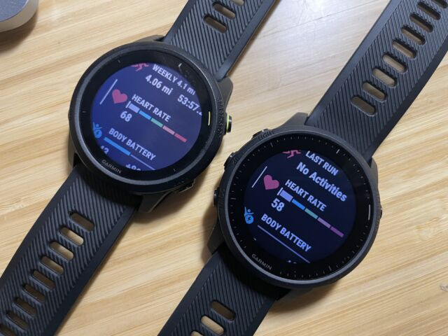 The Garmin Forerunner 745 (left) and 945 LTE (right) show the 745 using more backlighting but not to greater effect.