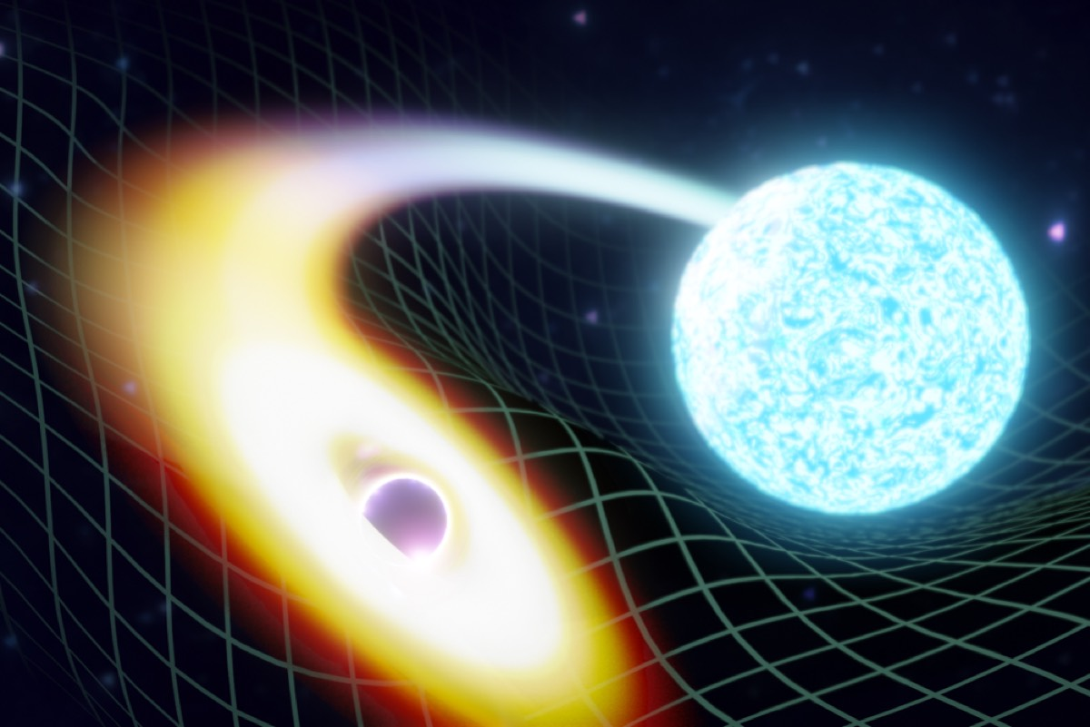 Artistic rendition of a black hole merging with a neutron star.