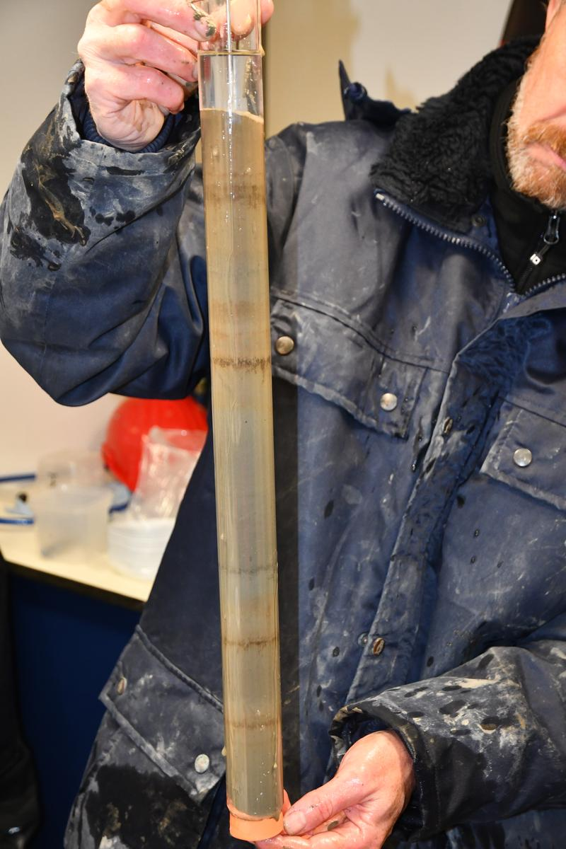 A sediment core retrieved from the Atacama Trench.