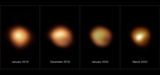 These images, taken with the SPHERE instrument on ESO's Very Large Telescope, show the surface of the red supergiant star Betelgeuse during its unprecedented dimming. The image on the far left, taken in January 2019, shows the star at its normal brightness. The remaining images, from December 2019, January 2020, and March 2020, were all taken when the star's brightness had noticeably dropped.