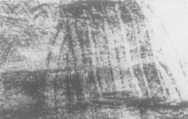 La Mouthe: (left) Painted etching of a hut (or an animal trap). Edward Wachtel found that a moving, flickering light source would cause the colors of the hut to change, and the animals around it to appear and disappear. (right) A sketch shows