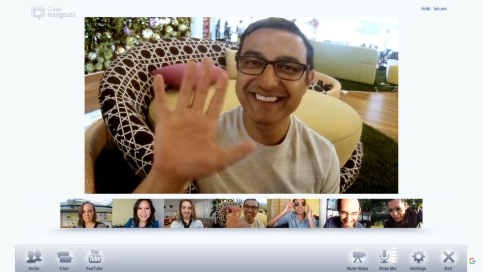 Google+ Hangouts video chat, featuring Google+'s architect, Vic Gundotra.