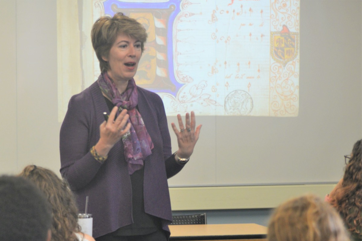 Musicologist Marica Tacconi teaches Penn State students about the three forged manuscripts she discovered.